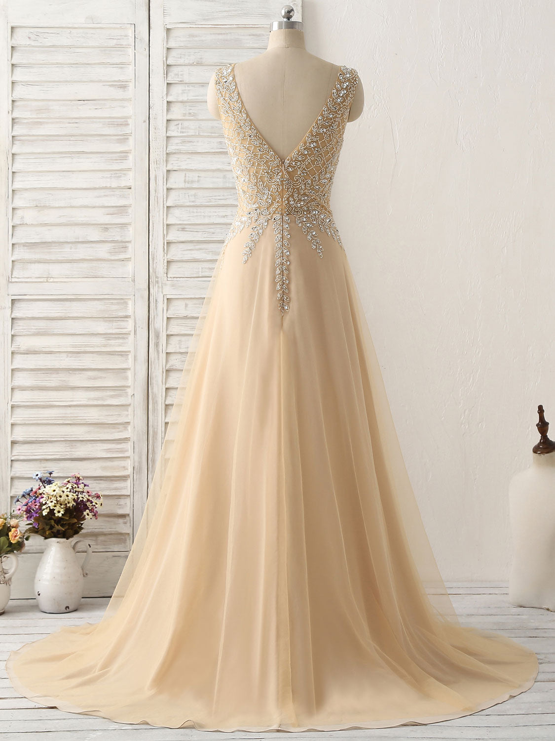 Champagne v neck beads long prom dress tulle evening dress