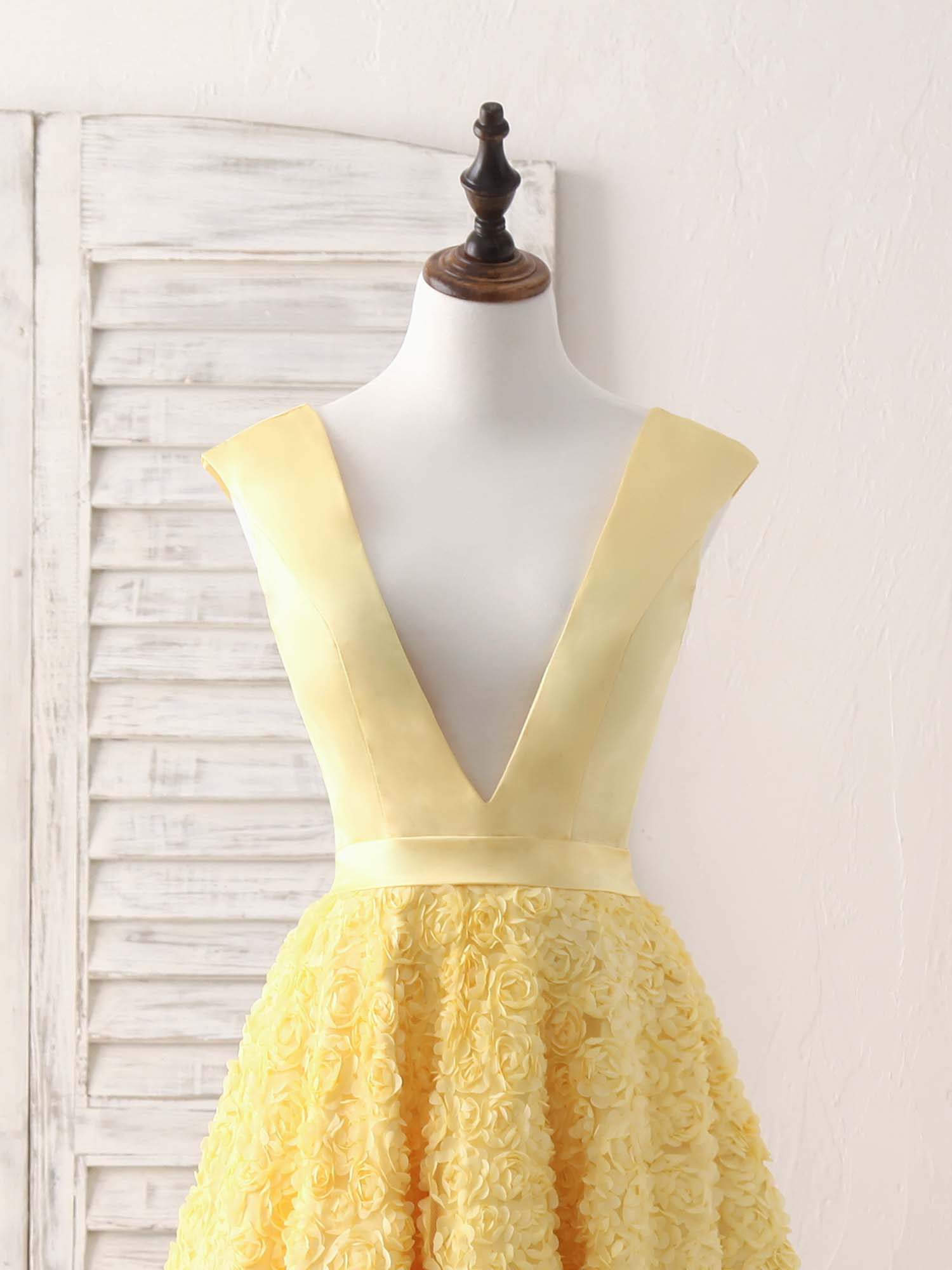 Yellow v neck 3D lace tea long prom dress, yellow evening dress