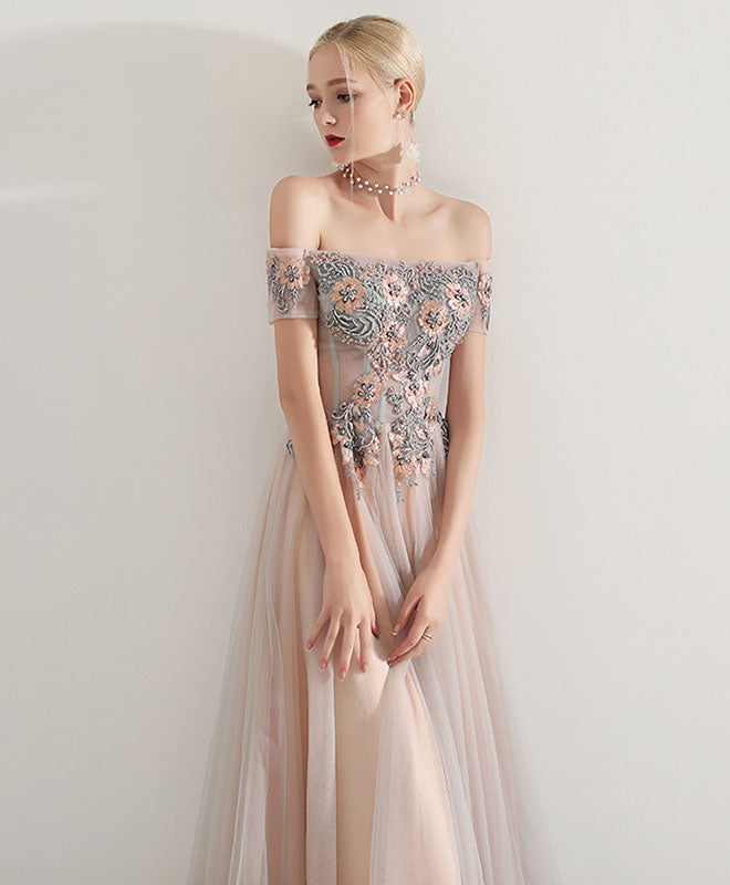 champagne pink tulle long prom dress, tulle evening dress