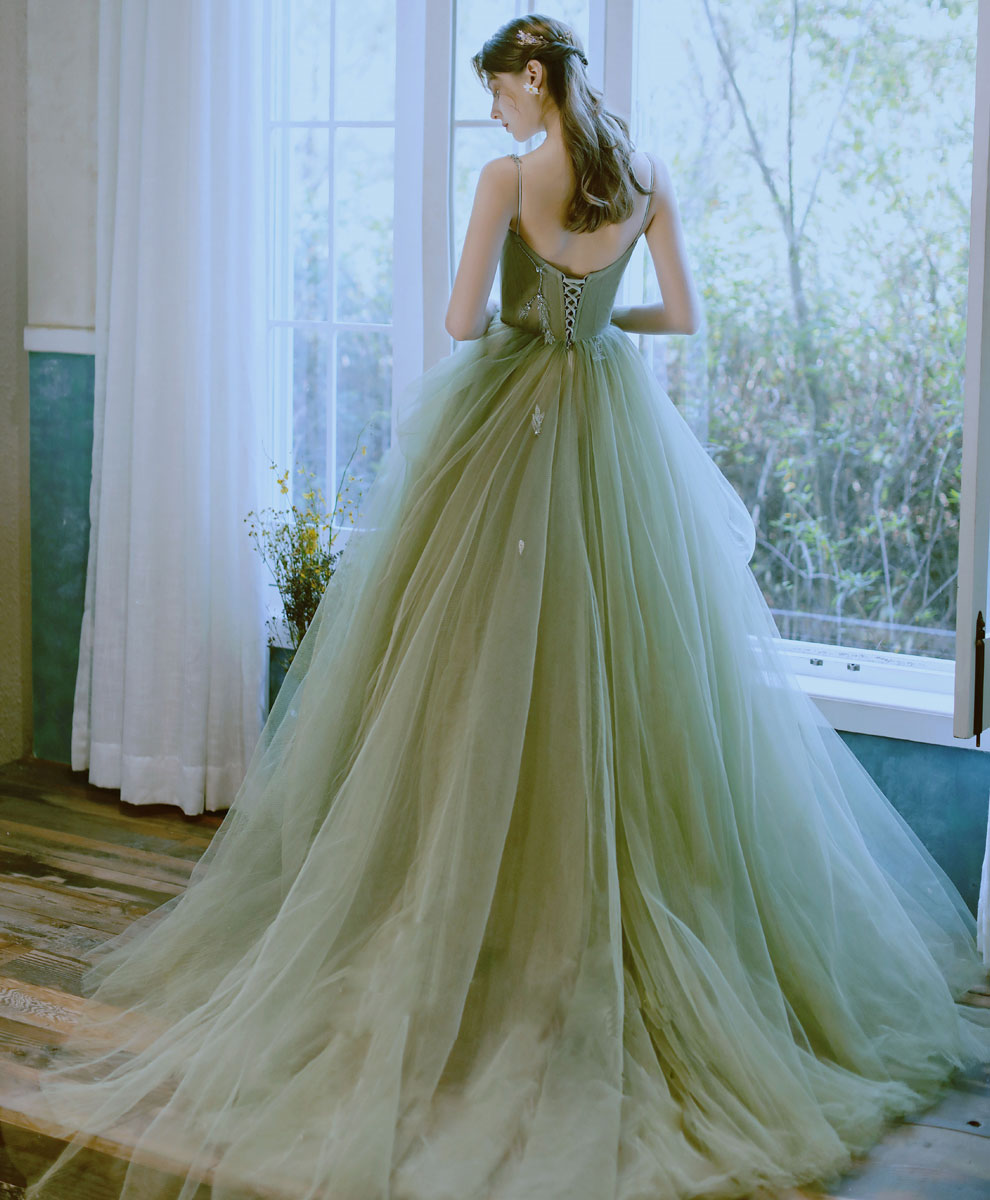 Green tulle lace long prom dress green tulle lace formal dress