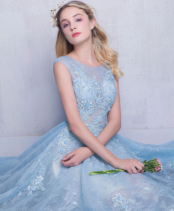 Blue round neck lace long prom dress, sweet 16 dress
