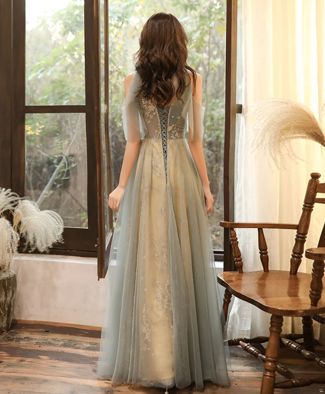 Green tulle hight neck tulle lace long prom dress tulle formal dress