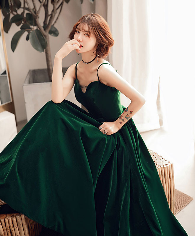Simple green short prom dress, green bridesmaid dress