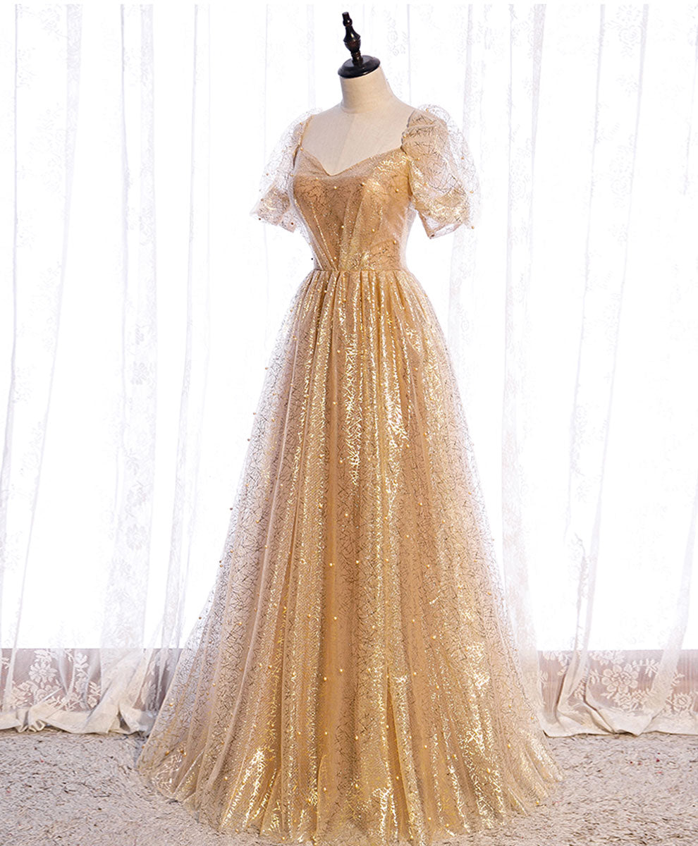 Gold tulle v neck long prom dress gold tulle formal dress