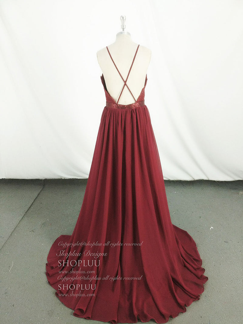 Burgundy sweetheart chiffon lace long prom dress, burgundy evening