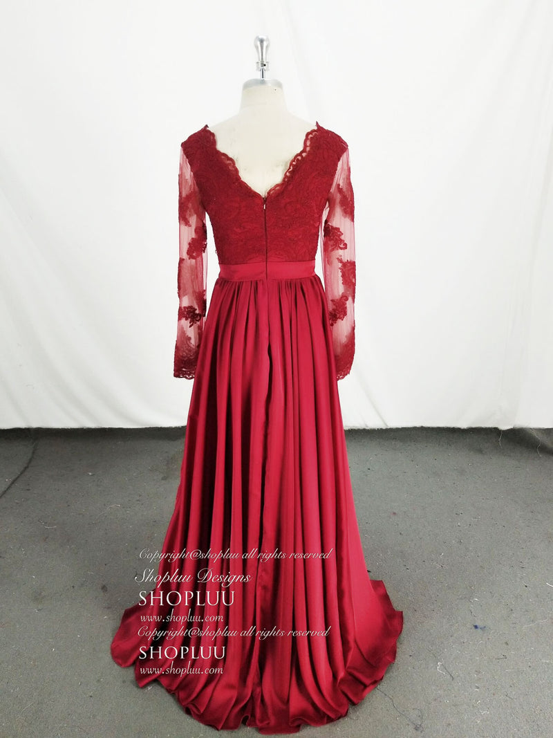 Burgundy v neck lace satin long prom dress, lace evening dress
