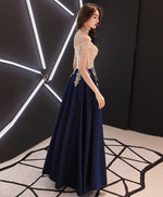 Dark blue sweetheart lace satin long prom dress, blue evening dress