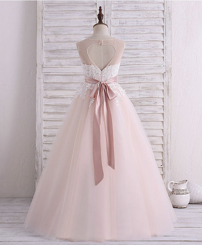 Champagne pink round neck tulle lace flower girl dress