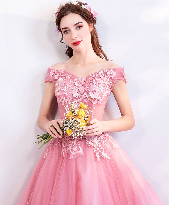 Pink tulle off shoulder lace long prom dress, pink evening dress