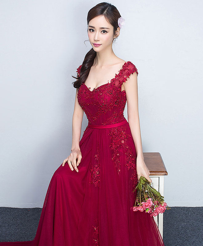 Burgundy sweetheart tulle lace long prom dress, bridesmaid dress