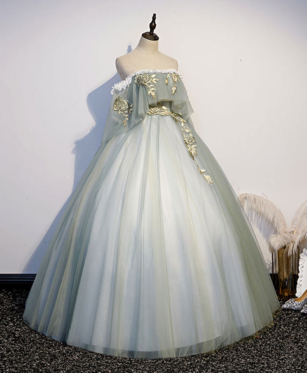 Green tulle lace long prom dress green tulle sweetheart dress