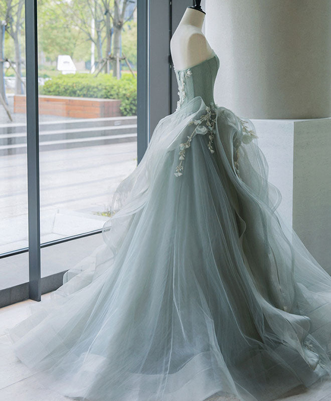 Unique tulle lace long prom gown, tulle lace evening dress