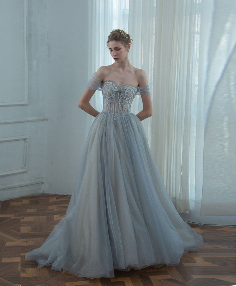 Gray sweetheart neck tulle sequin long prom dress tulle formal dress