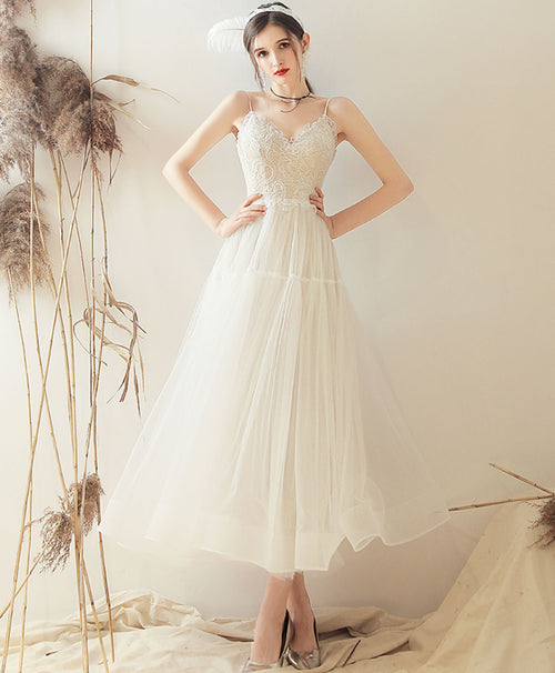 White sweetheart A line tulle tea length prom dress bridesmaid dress
