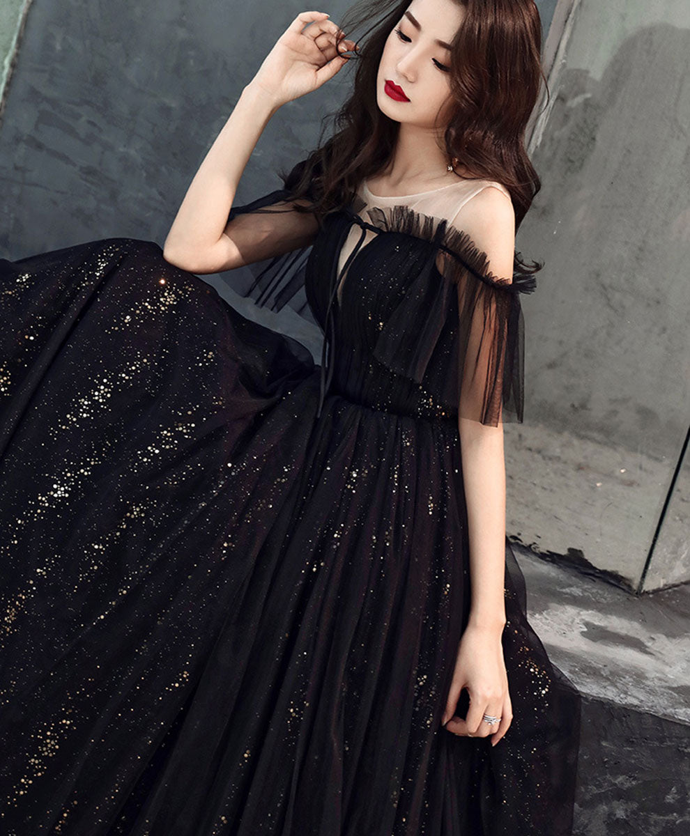Black tulle off shoulder long prom dress black formal dress