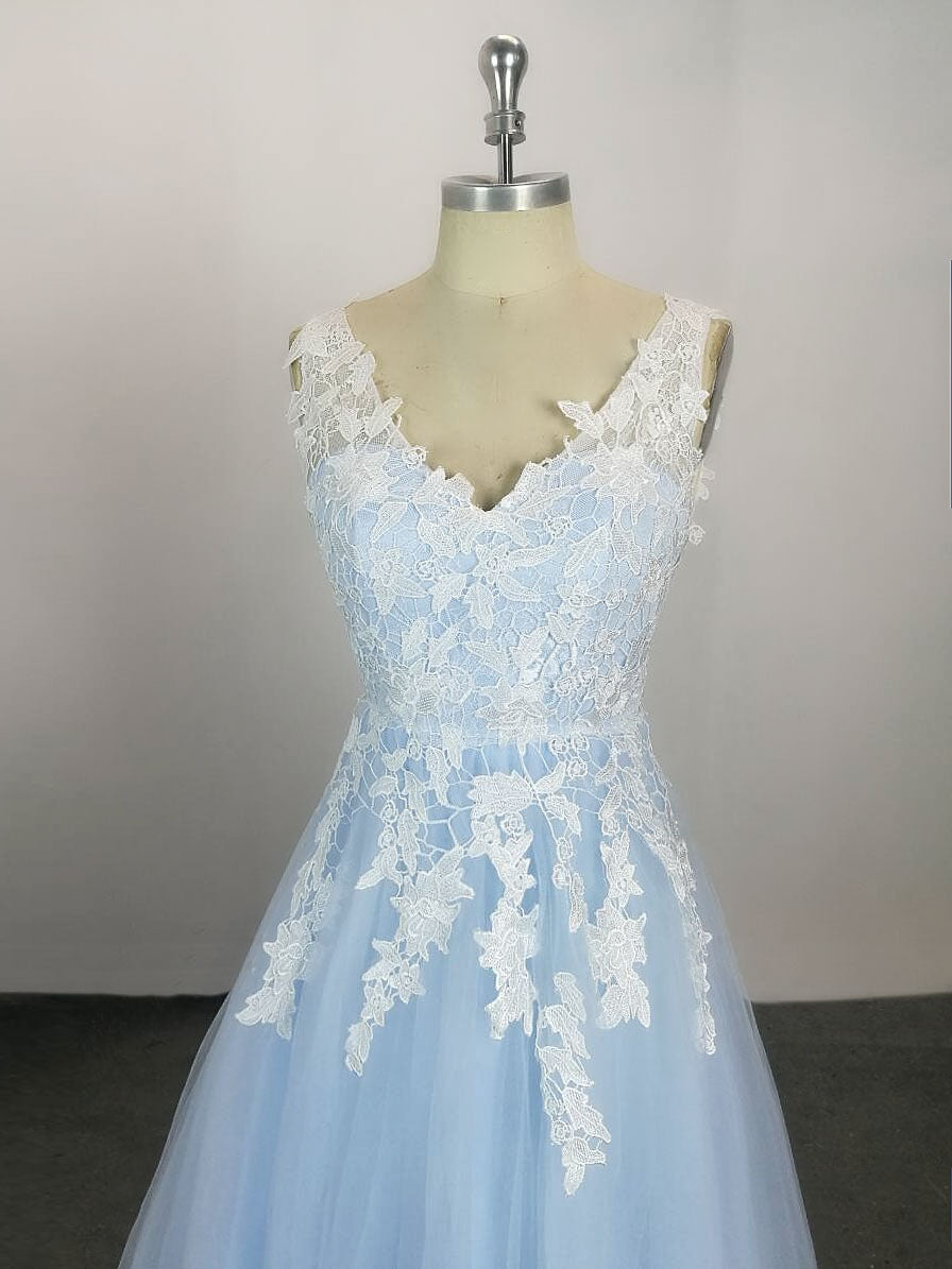 Blue v neck tulle lace long prom dress, blue tulle evening dress