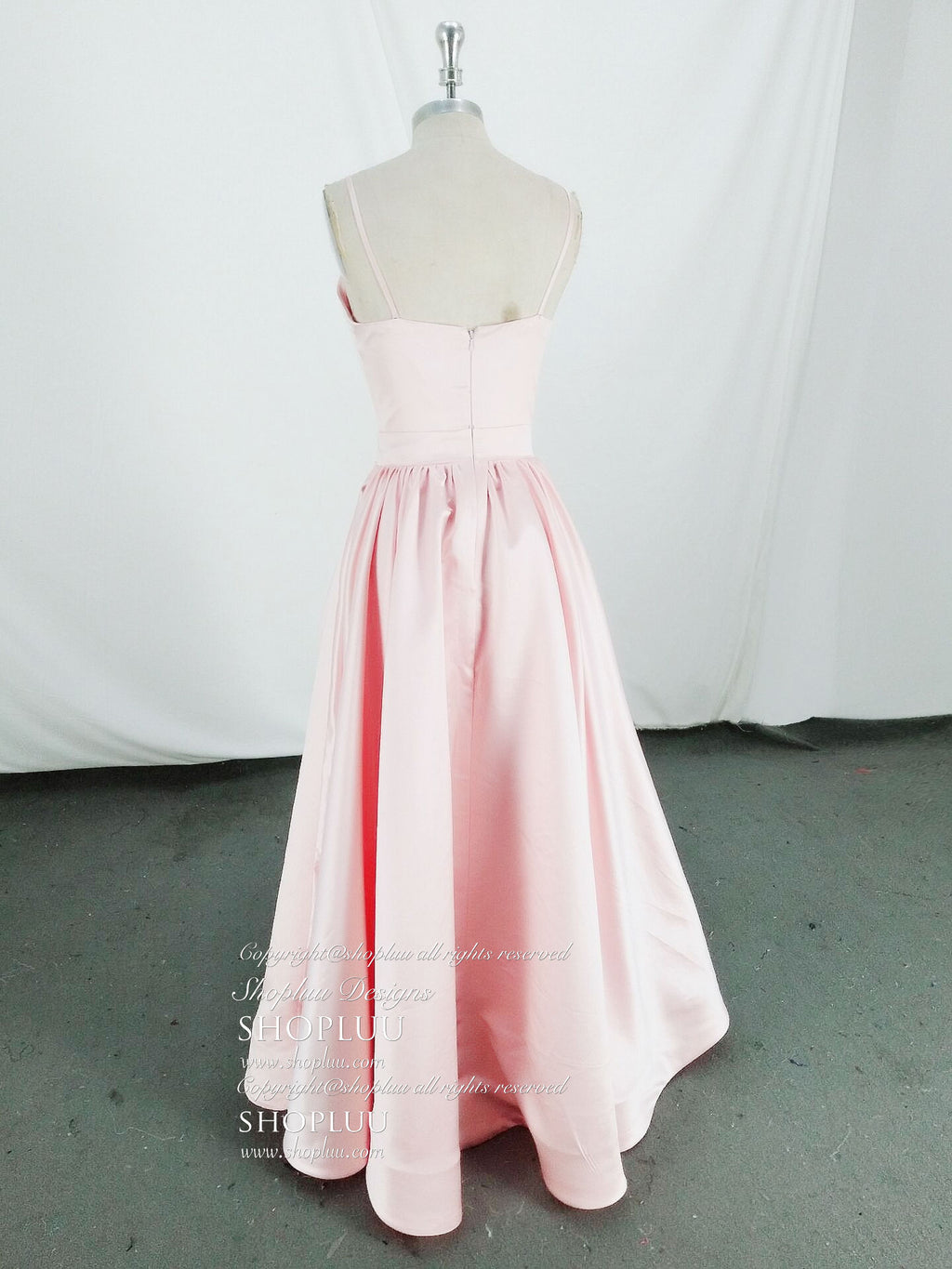 Simple pink long prom dress, pink evening dress