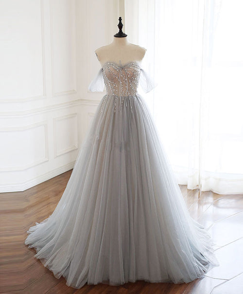 Gray sweetheart tulle beads long prom dress gray tulle formal dress