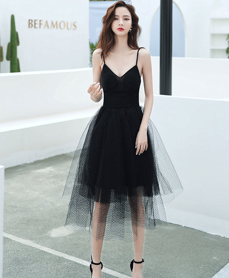 Black v neck tulle short prom dress black short evening dress
