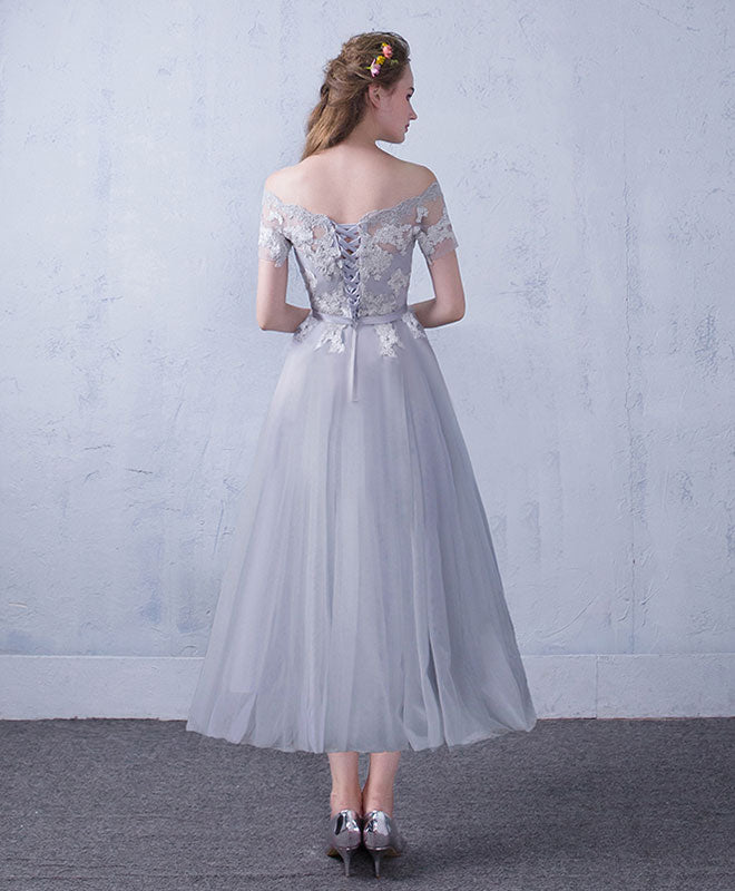 Gray tulle lace tea Length prom dress, gray bridesmaid dress