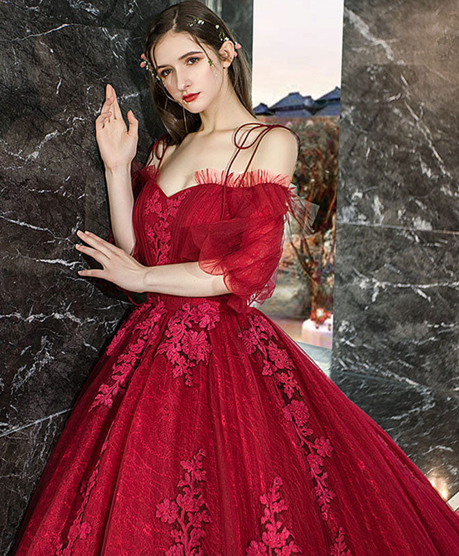 Burgundy sweetheart tulle lace long evening dress, formal dress