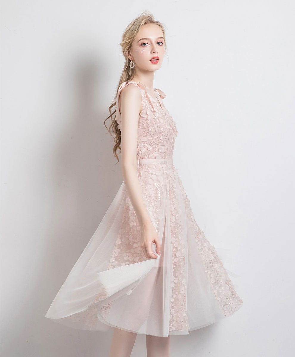 Light pink tulle v neck lace short prom dress tulle lace formal dress