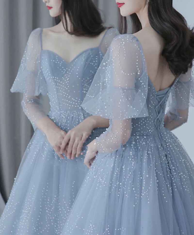 Blue v neck tulle sequin long prom dress blue tulle formal dress