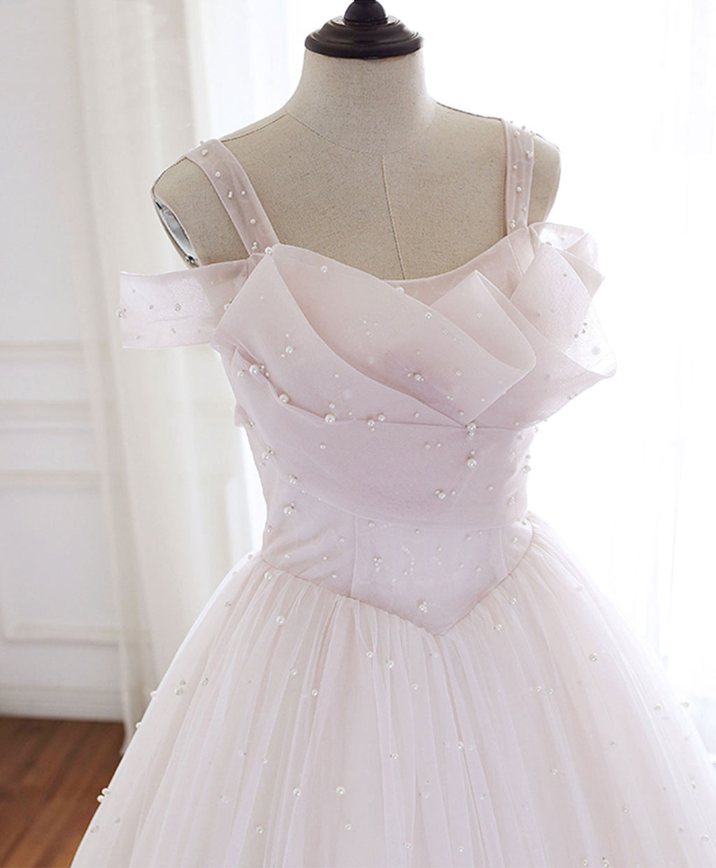 Light pink tulle long prom dress pink tulle formal dress