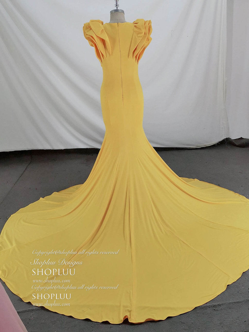 Unique yellow mermaid long prom dress yellow evening dress