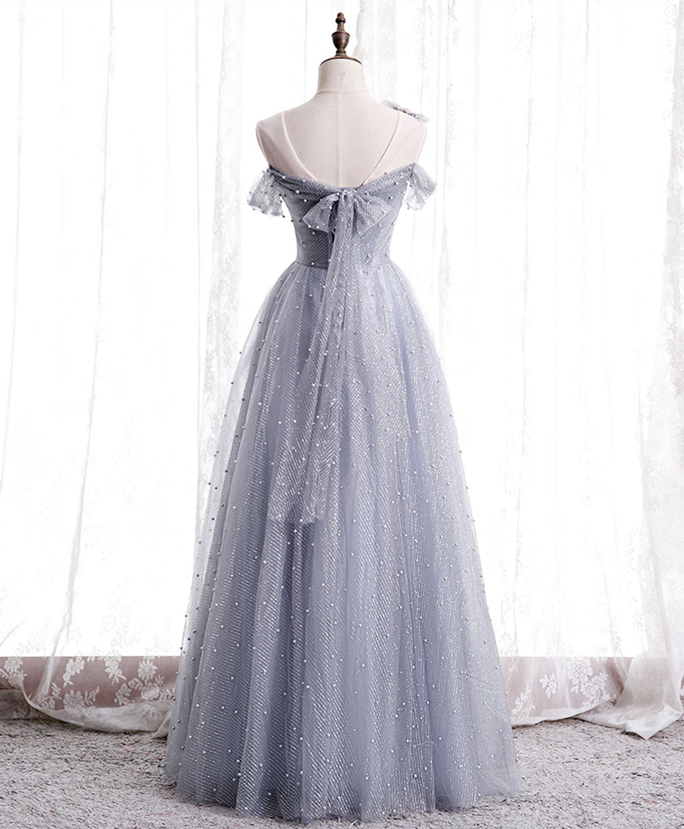 Gray tulle beads long prom dress gray tulle formal dress
