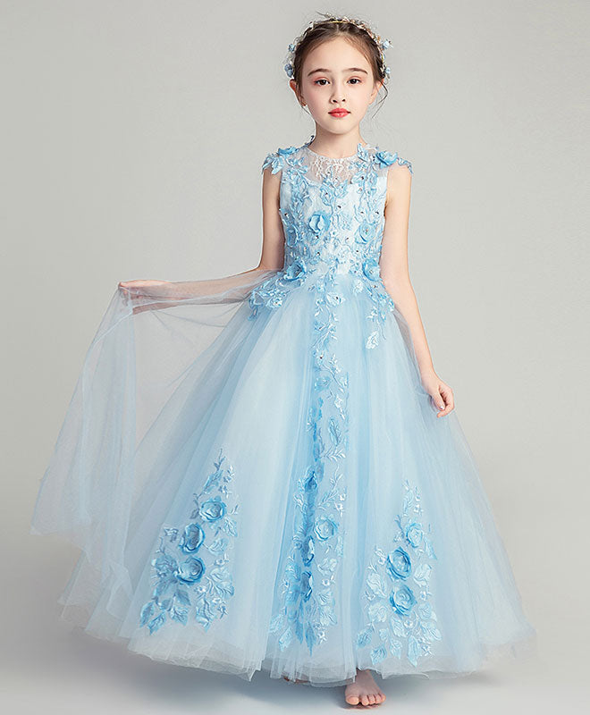 Blue round neck tulle lace flower girl dress, girl fashion dress