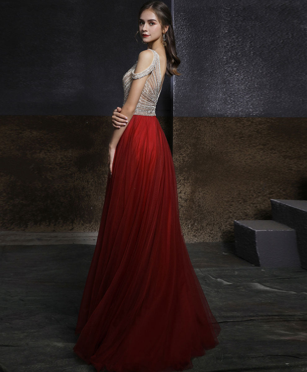 Burgundy v neck beads tulle long prom dress long evening dress