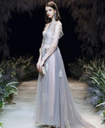 Gray round neck tulle lace long prom dress gray lace formal dress