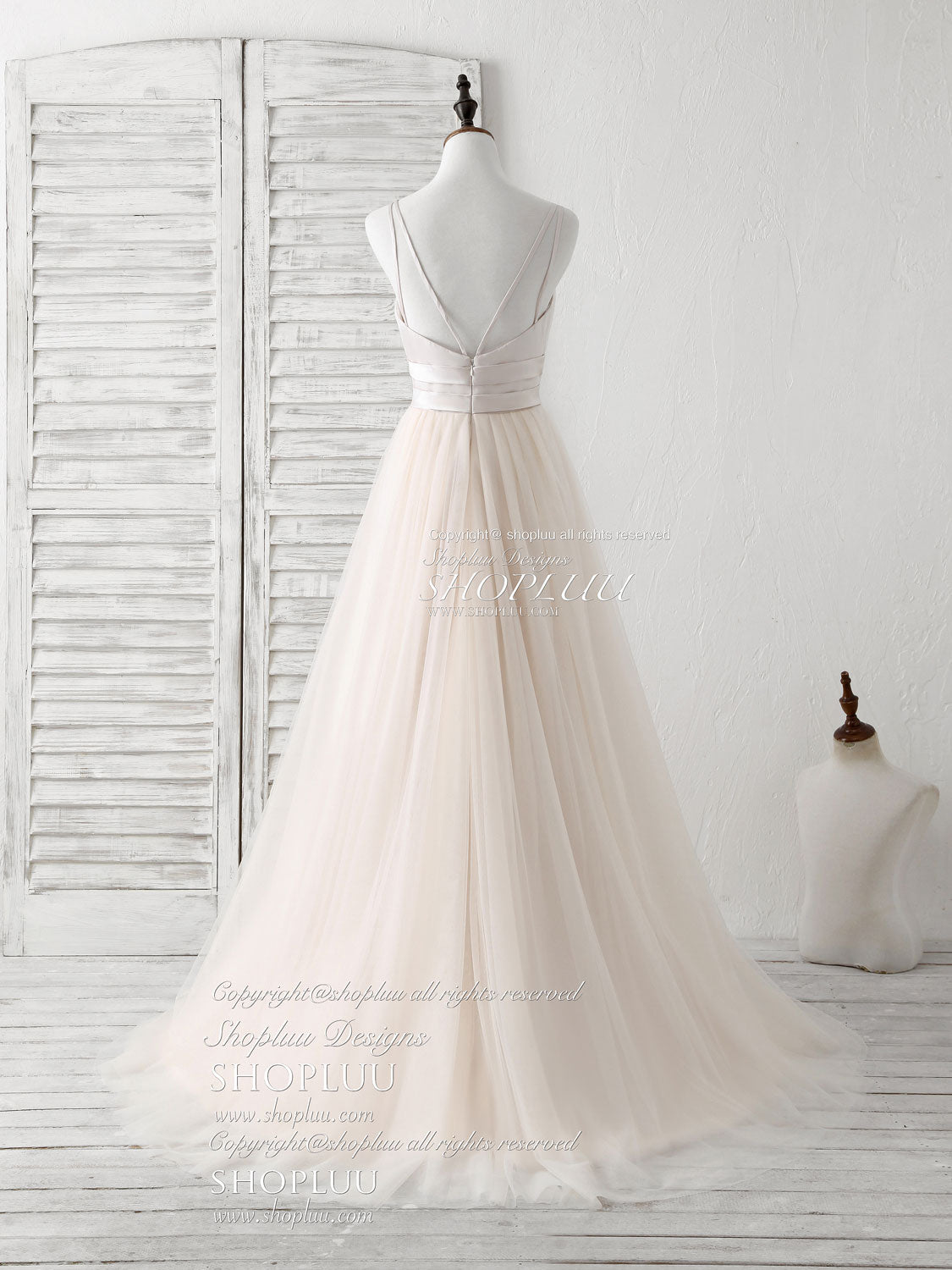 Simple champagne tulle long prom dress tulle evening dress