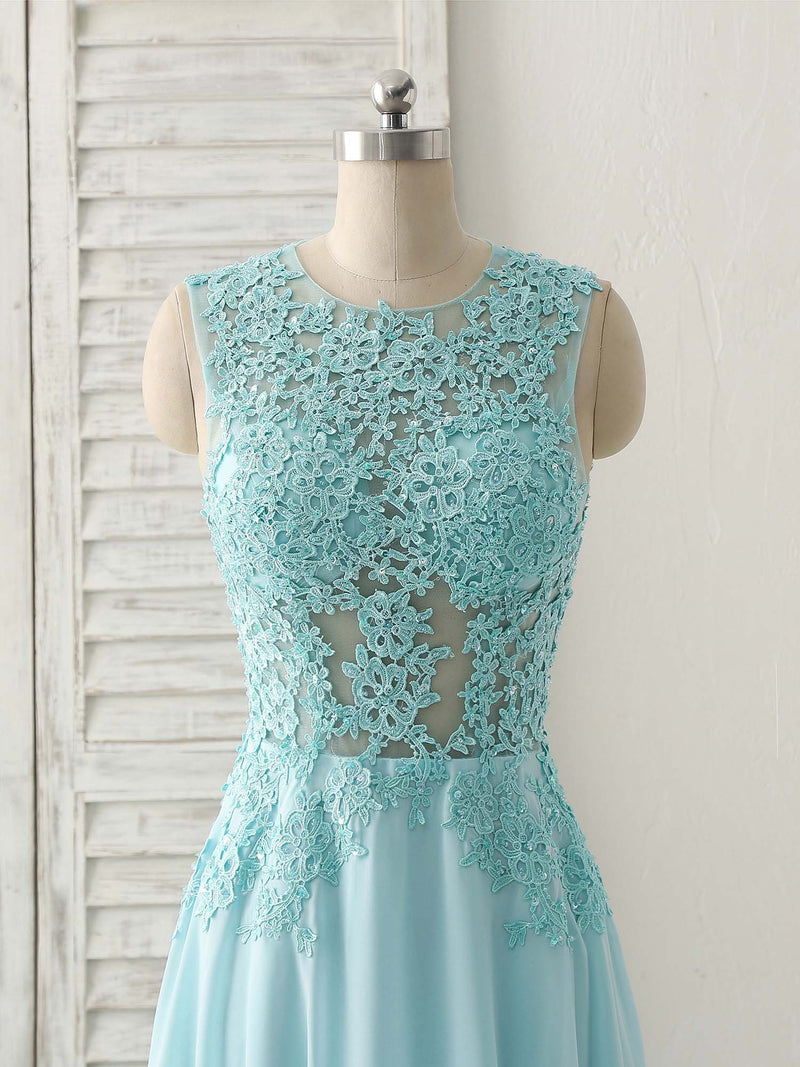 Blue round neck lace chiffon long prom dress