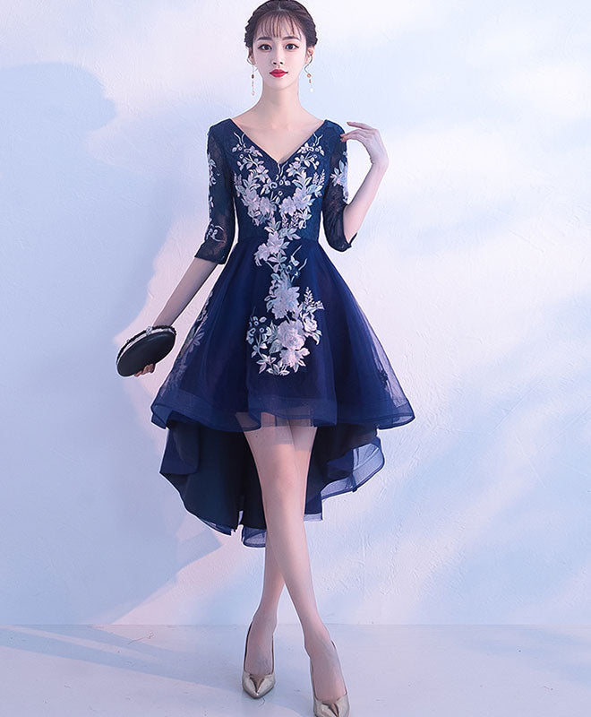 Dark blue v neck tulle lace short prom dress, homecoming dress