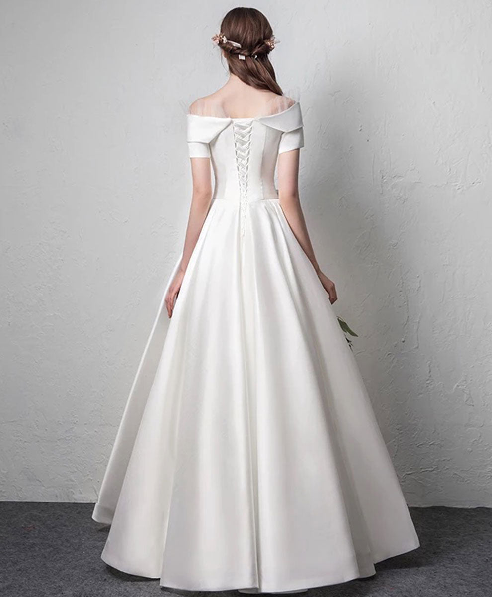 White satin long prom dress white long evening dress
