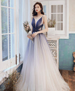 Blue v neck tulle long prom dress blue tulle evening dress