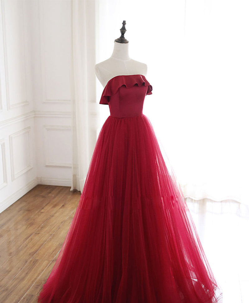 Simple burgundy tulle long prom dress burgundy formal dress