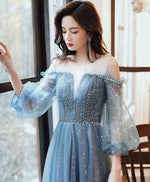 Blue round neck tulle sequin long prom dress tulle evening dress