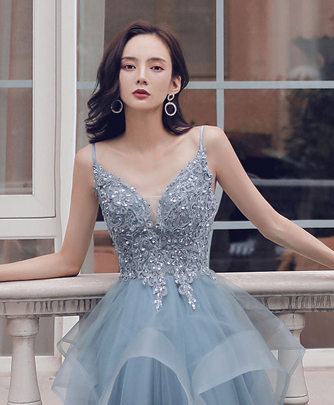 Blue sweetheart tulle lace long prom gown lace formal dress