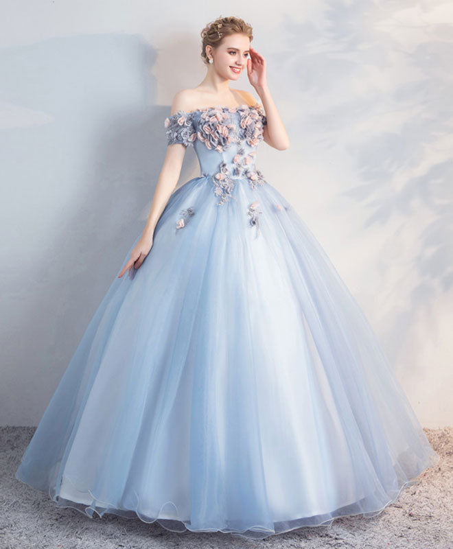 Blue tulle off shoulder long prom dress, sweet 16 dress