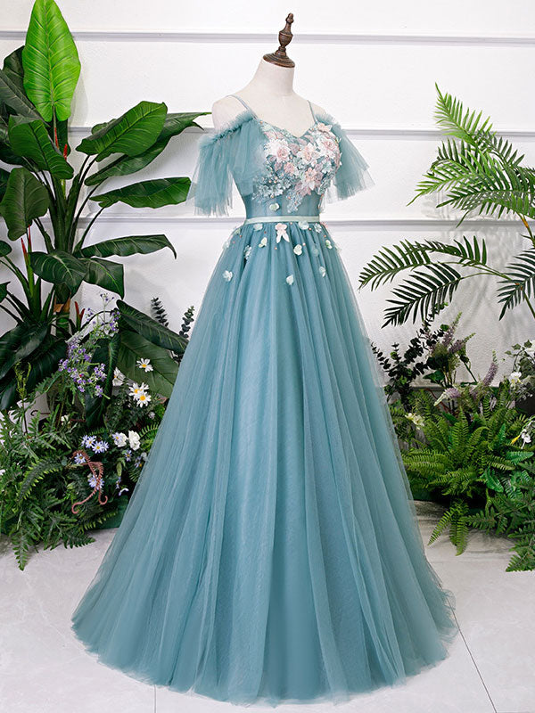 Green v neck tulle lace long prom dress lace evening dress