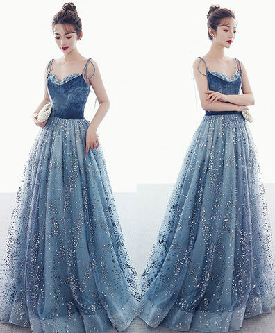 Unique round neck tulle sequin beads long prom dress