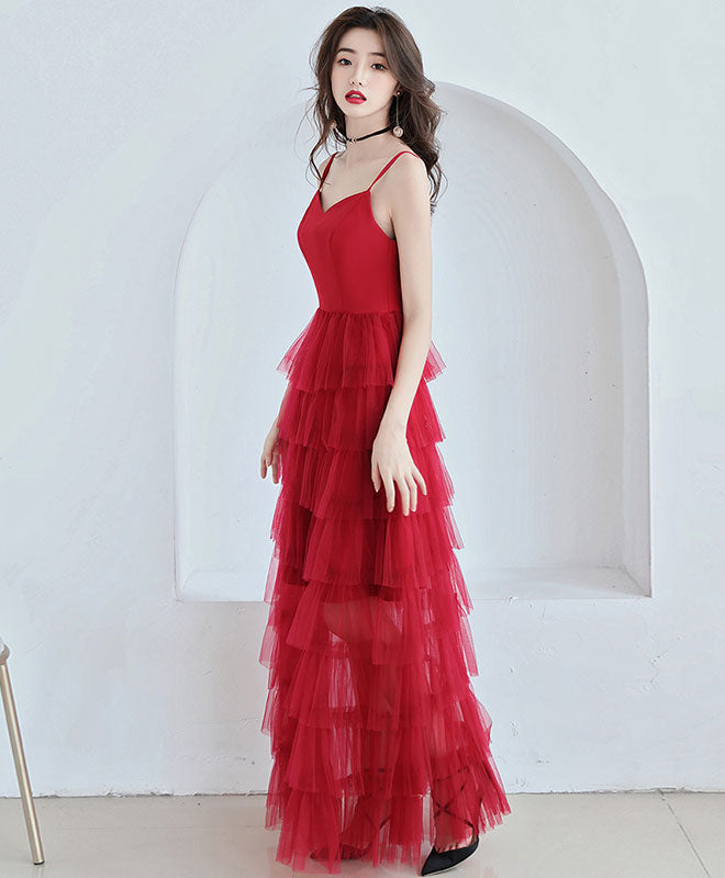 Simple red tulle long prom dress, red tulle evening dress