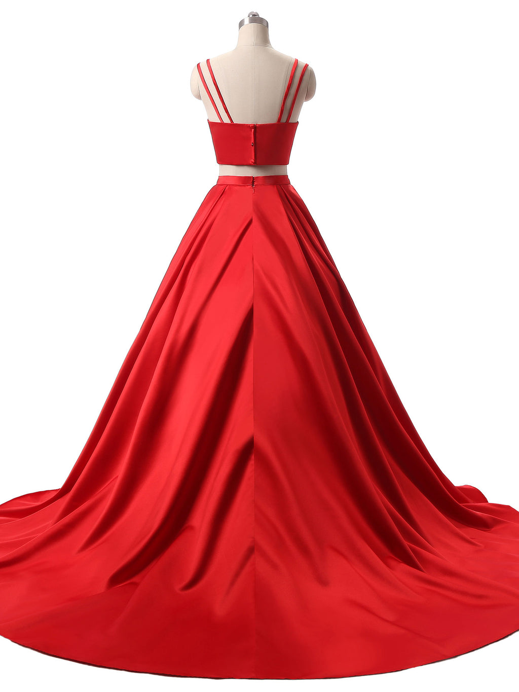 Red two pieces satin long prom dress red evening dress