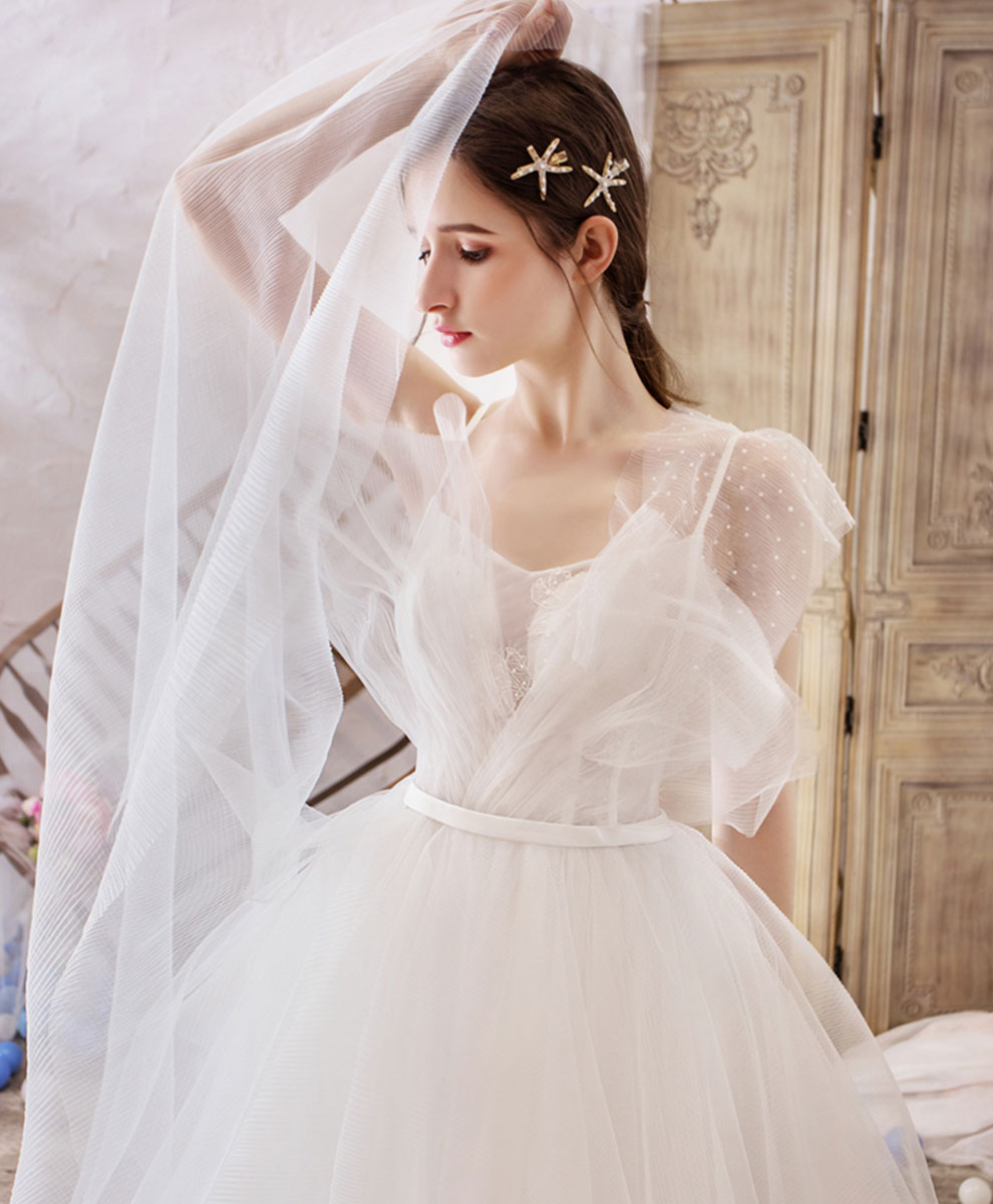 White v neck tulle lace long wedding dress lace bridal dress