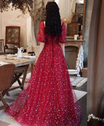 Red sweetheart tulle long prom dress red tulle formal dress