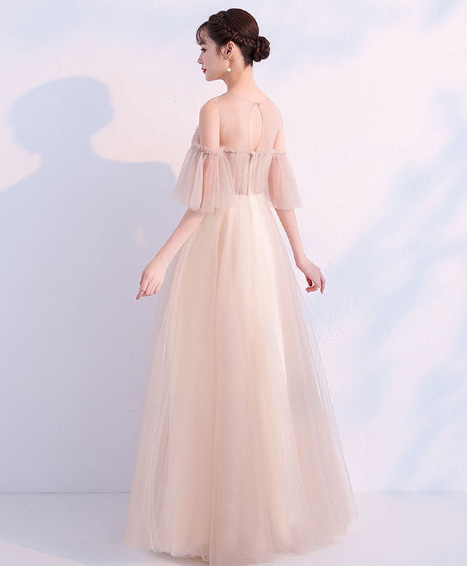 Champagne round neck tulle long prom dress, champagne tulle evening dress