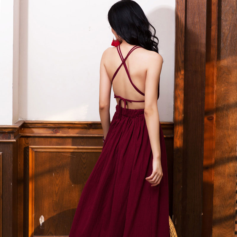 Burgundy chiffon v neck long evening dress, women fashion dress